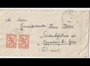 Finnland 1928, MeF 1 Mk. orange auf Brief v. Kannus n. Österreich. #988