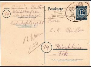 1946, Landpost Stpl. 14a MÜHLHAUSEN über Geislingen auf 12 Pf. Ganzsache