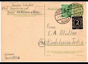 DR 1946, Landpost Stpl. OBERHEINRIET über Heilbronn auf Ganzsache m. Zusatzfr.