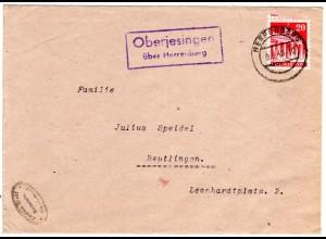1948, Landpost Stpl. OBERJESINGEN über Herrenberg auf Firmen Brief m. 20 Pf.