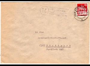 1948, Landpost Stpl. 14 WANGEN über Göppingen auf Brief m. 20 Pf.