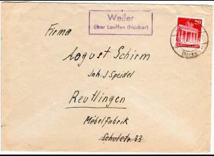 1948, Landpost Stpl. WEILER über Lauffen auf Brief m. 20 Pf.