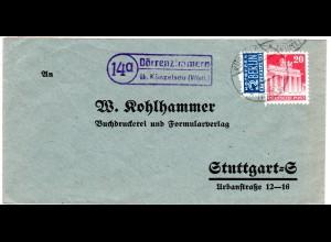 1949, Landpost Stpl. 14a DÖRRENZIMMERN über Künzelsau auf Brief m. 20 Pf.