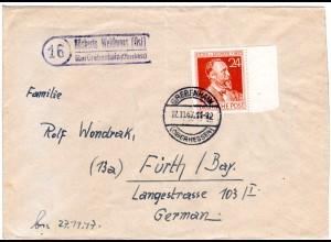 1947, Landpost Stpl. NÖSBERTS WEIDMOOS (OST) über Grebenhain auf Brief m. 24 Pf
