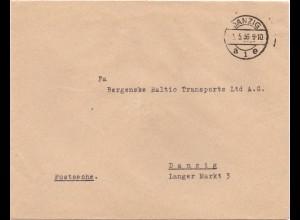 """Danzig 1936, Brief """"Postsache"""". Portofreiheit. Rücks.Telegraphenamt Siegel. #691"""
