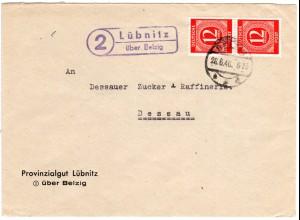 1946, Landpost Stpl. 2 LÜBNITZ über Belzig auf Brief m. 2x12 Pf