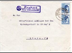 1946, Landpost Stpl. 24 NEUDORF über Eckernförde auf Brief m. 2x12 Pf