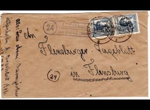 1947, Landpost Stpl. 24 LÜTJENHOLM über Bredstedt auf Brief m. 2x12 Pf