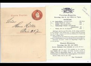 Rudern, Argentinien Karten Brief 1902 n. Peru m. Einladung Vereins Regatta. #834