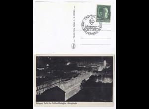 DR 1938, So-Stpl. Auslandsdeutschen Tagung Stuttgart auf entsprechender AK. #826