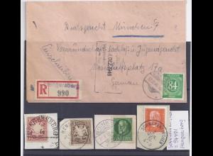 Hengersberg, Einschreiben Brief m eingest. R-Zettel u. 5 Briefst. ab Bayern. #26