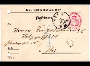"""Bayern 1907. K1 PORTO KONTROLLE auf Orts-Karte v. Hof m. Porto """"5"""" Pfg."""