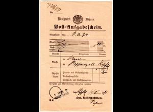 Bayern 1891, L2 Aushilfstempel KIPFENBERG auf Postschein m. Unterschrift