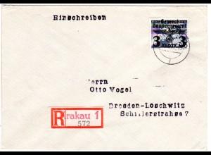 Generalgouvernement 1940, 3 Zl. auf Einschreiben Brief v. Krakau 1