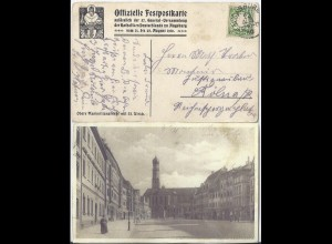 Augsburg 1910, Offiz. Festpostkarte 57. Gener.Vers. d. Katholiken Dt., sw-AK #63