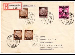 Generalgouvernement 1940, 5 Marken auf Reko Brief v. TOMASZOW-Maz.