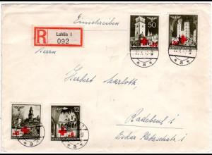 Generalgouvernement 1940, 4 Marken Rotes Kreuz kpl. auf Reko Brief v. Lublin