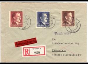 Generalgouvernement 1942, 3 Marken Hitler auf Reko Express Brief v. Krakau