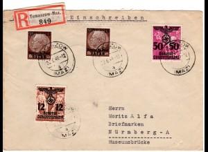 Generalgouvernement 1940, 4 Marken auf Einschreiben Brief v. TOMASZOW-Maz.
