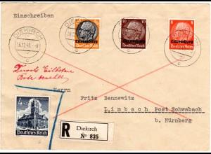 Luxemburg 1940, 3 Marken+DR 4 Pf. WHW auf Einschreiben-Express Brief v. Diekirch