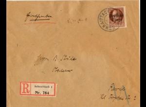Bayern 1919, EF 75 Pf Volksst auf Einschreiben Brief Schnaittach-Estland. #836