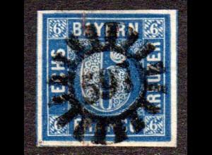 Bayern, MR 597 WOLNZACH zentrisch auf breitrandiger 6 Kr.