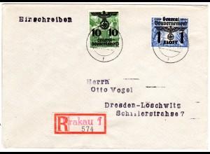 Generalgouvernement 1940, 10/10+1 Zl./55 Gr. auf Einschreiben Brief v. Krakau 1