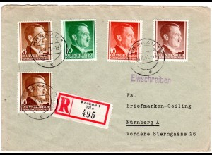 Generalgouvernement 1941, 5 Hitler Marken auf Einschreiben Brief v. Krakau 1