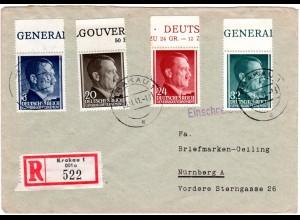 Generalgouvernement 1941, 4 Marken auf portorichtigem Reko Brief v. Krakau 1