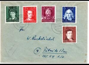 Generalgouvernement 1944, Kulturtäger Satz, 5 Werte kpl. auf Brief v. Krakau