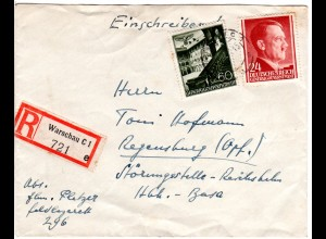 Generalgouvernement 1942, 24+60 Pf. auf portorichtigem Einschreiben Brief