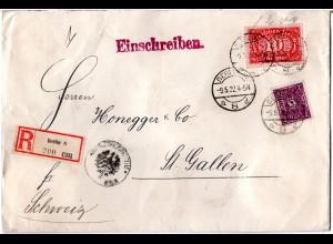 DR 1922, 2+10 Mk. m. perfins auf Reko Zensur Brief v. Berlin i.d. Schweiz