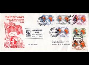 Bermuda 1959, 350 J. Ansiedlung m. Wappen kpl. auf FDC