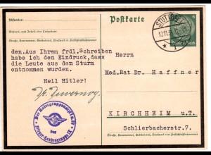 DR 1934, Flieger-Landesgruppe IX, blauer Briefstempel auf Ganzsache v. Stuttgart