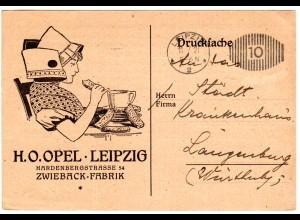 DR 1921, illustrierte Zwieback Drucksache Firmenkarte m. Freistpl. v. Leipzig