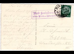 DR 1937, Landpost Stpl. BAD SALZHAUSEN über Nidda auf sw-AK m. 6 Pf.