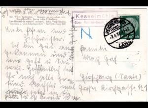 DR 1937, Landpost Stpl. KESSELMÜHLE über Reichenbach auf Gasthof AK m. 6 Pf.