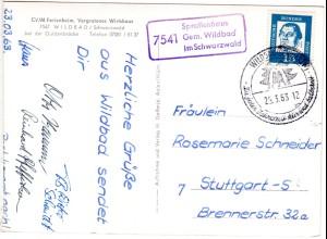 BRD 1963, Landpost Stpl. 7541 SPROLLENHAUS Gem. Wildbad auf Gasthof AK m. 15 Pf.