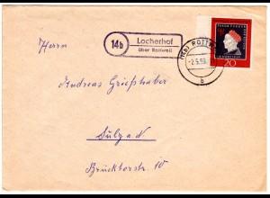 BRD 1959, Landpost Stpl. 14b LOCHERHOF über Rottweil auf Brief m. 20 Pf.