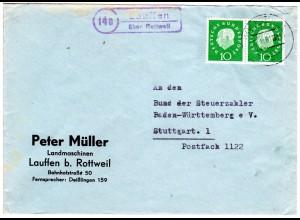 BRD 1961, Landpost Stpl. 14b LAUFFEN über Rottweil auf Brief m. Paar 10 Pf.