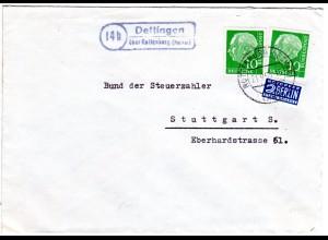 BRD 1955, Landpost Stpl. 14b DETTINGEN über Rottenburg auf Brief m. 2x10 Pf.