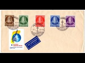 BRD 1955, Sonder Stpl. Dt. Industriemesse Hannover auf Brief m. 5 Berlin Marken