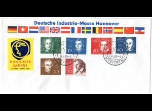 BRD 1960, Sonder Stpl. Hannover Messe auf Brief m. 6 Marken u.a. Beethoven