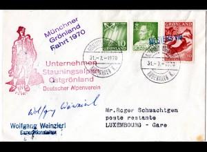Dt. Alpenverein, Münchner Grönland Fahrt 1970, Expeditions Brief m. Unterschrift