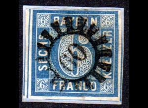 Bayern, MR 60 BRÜCKENAU klar u. zentr. auf Briefstück m. breitrandiger 6 Kr.
