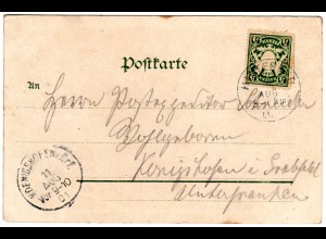Bayern 1901, K1 HINTERSEE auf Farb-AK Gasthof zur Post m. 5 Pf.
