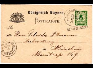 Bayern 1892, Station-L1 BERCHTESGADEN auf 5 Pf. Ganzsache m. Bahnpost-K1 B-R-C3