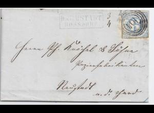 """Taxis Bayern 1867, Postablage Darmstadt Rossdorf, Brief m. 6 Kr u. """"104"""". #1134"""