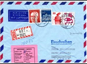 Island 1973, rosa Retour Etikett auf BRD Einschreiben Brief v. Münster