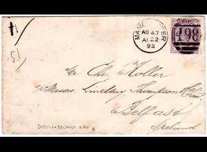 GB 1893, 1d auf Brief v. Manchester m. rs. Irland Bahnpost Stpl. Dublin&Belfast